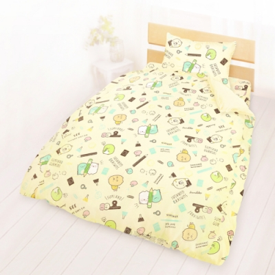 享夢城堡 單人床包雙人薄被套三件組-角落小夥伴 研習中-米黃