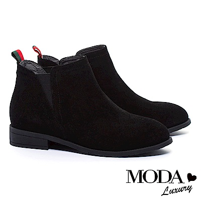 短靴 MODA Luxury 異材質拼接率性質感牛麂皮粗跟短靴-黑