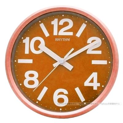 RHYTHM日本麗聲 粉彩風格座掛兩用靜音時鐘-亮橙/18cm