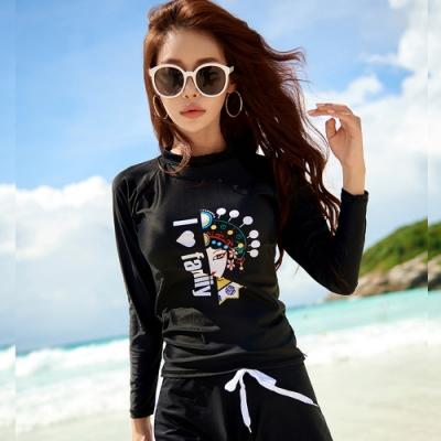 Biki比基尼妮泳衣,臉譜長袖泳衣泳裝有罩杯M-XL(單上衣)