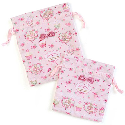 Sanrio 兔媽媽杯子蛋糕系列緞帶束繩縮口袋組(一組兩個入)
