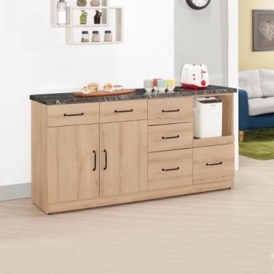 Boden-尼克森5.2尺二門五抽一拉盤石面收納餐櫃/碗盤置物櫃/電器櫃-157x42x81cm