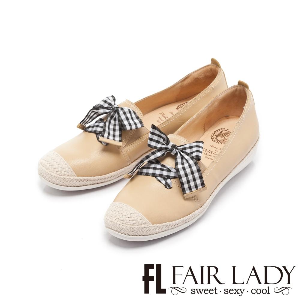 FAIR LADY Soft Power 軟實力 格紋結飾草編樂福懶人鞋 鵝黃