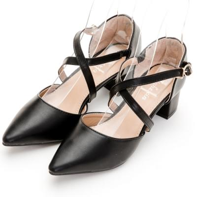 River&Moon中大尺碼跟鞋-交叉繫帶後包跟鞋 黑