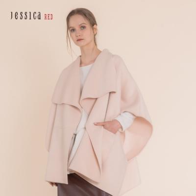 JESSICA RED - 百搭寬鬆不規則羊毛混紡斗篷外套