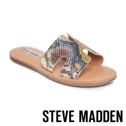 STEVE MADDEN-HARLOW 簡約H型一字拖鞋-蛇皮