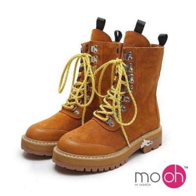 mo.oh全真皮厚底運動款馬丁靴棕色