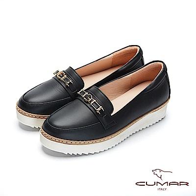 CUMAR文藝羅浮宮- 經典金屬飾釦厚底休閒鞋-黑