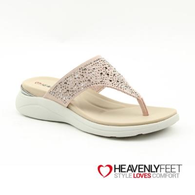 【HEAVENLY FEET】英國舒適品牌水鑽造型夾腳休閒拖鞋-ROSE