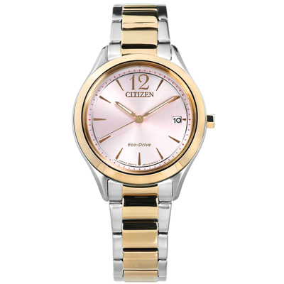 CITIZEN 光動能 礦石強化玻璃 日期 不鏽鋼手錶-粉x鍍香檳金/33mm