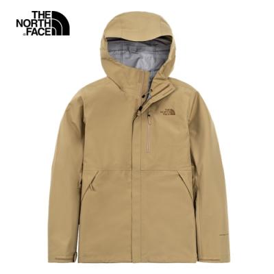 The North Face北面男款卡其色防水透氣連帽衝鋒衣|46LBZ74