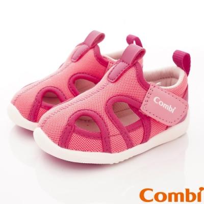 日本Combi童鞋 城市飛行幼兒機能涼鞋-甜心粉