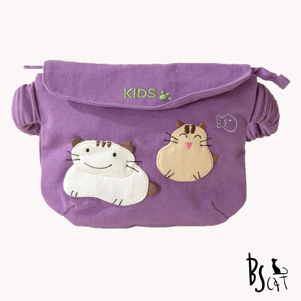 ABS貝斯貓 可愛貓咪手工拼布小朋友腰包(典雅紫)88-033