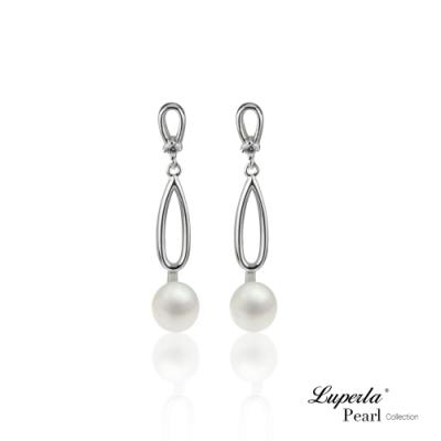 大東山珠寶 純銀晶鑽珍珠耳環 柔美珍心