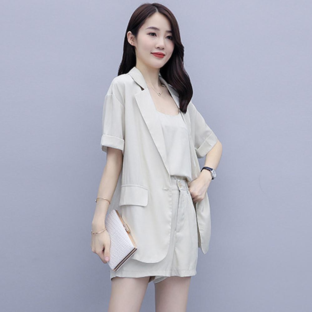 【KISSDIAMOND】法韓版小清新西裝外套背心短褲三件套(簡約/上班族/百搭/KDA-0559 )