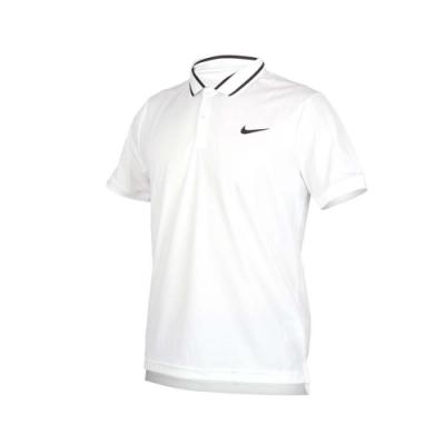 NIKE 男短袖針織POLO衫-短袖上衣 慢跑 網球 白黑