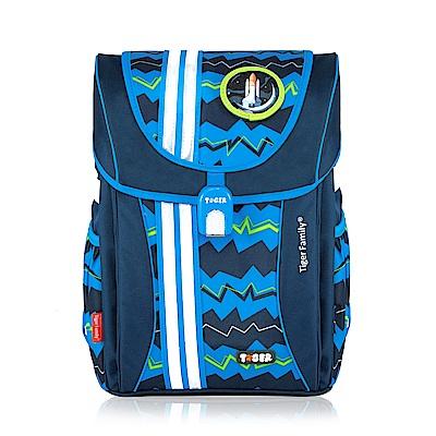 TigerFamily學院風超輕量護脊書包-藍色條紋