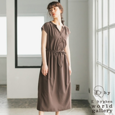 E hyphen 前排釦收腰綁帶V領洋裝