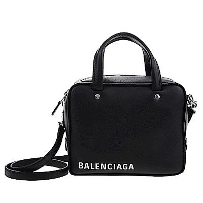 Balenciaga Triangle Square XS系列品牌字母小牛皮二用包(黑色)