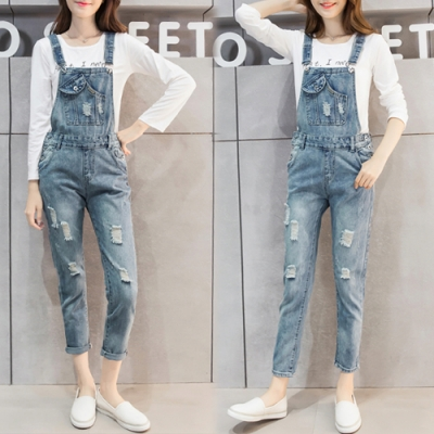 【韓國K.W.】(預購)優雅女伶連身牛仔吊帶褲-1色