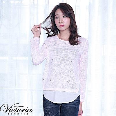 Victoria 貼鑽異材質拼接長袖T-女-淺粉花