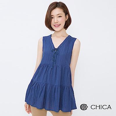 CHICA 自在田園綁帶層次拼接上衣(2色)