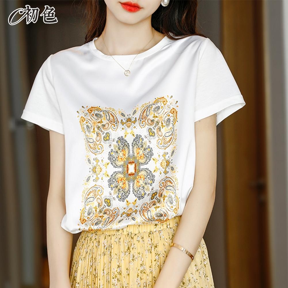 初色  時尚復古印花T恤-共2色-(M-2XL可選)