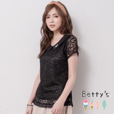 betty's貝蒂思 優雅翻領透膚蕾絲上衣(黑色)