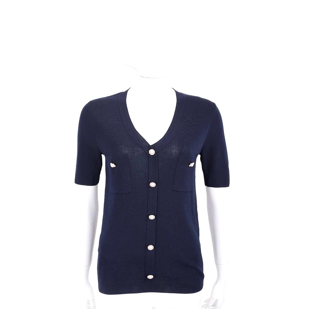EDWARD ACHOUR PARIS 珍珠釦深藍色短袖針織外套