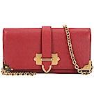 PRADA Saffiano Cahier 金屬框防刮皮革鍊帶晚宴包(罌粟紅)