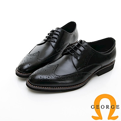 【GEORGE 喬治皮鞋】尊爵系列 漸層雕花綁紳士皮鞋-黑色