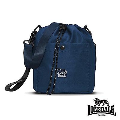 【LONSDALE 英國小獅】戶外休閒細尼龍束口斜背圓桶包-深藍 LD1196
