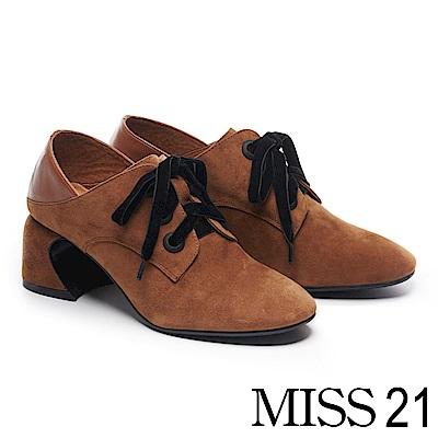 高跟鞋 MISS 21 復古文藝氣息異材質拼接綁帶馬蹄高跟鞋-咖