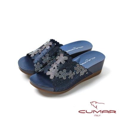 CUMAR情迷哈瓦那 -雷射花朵鑽飾厚底涼拖鞋-藍