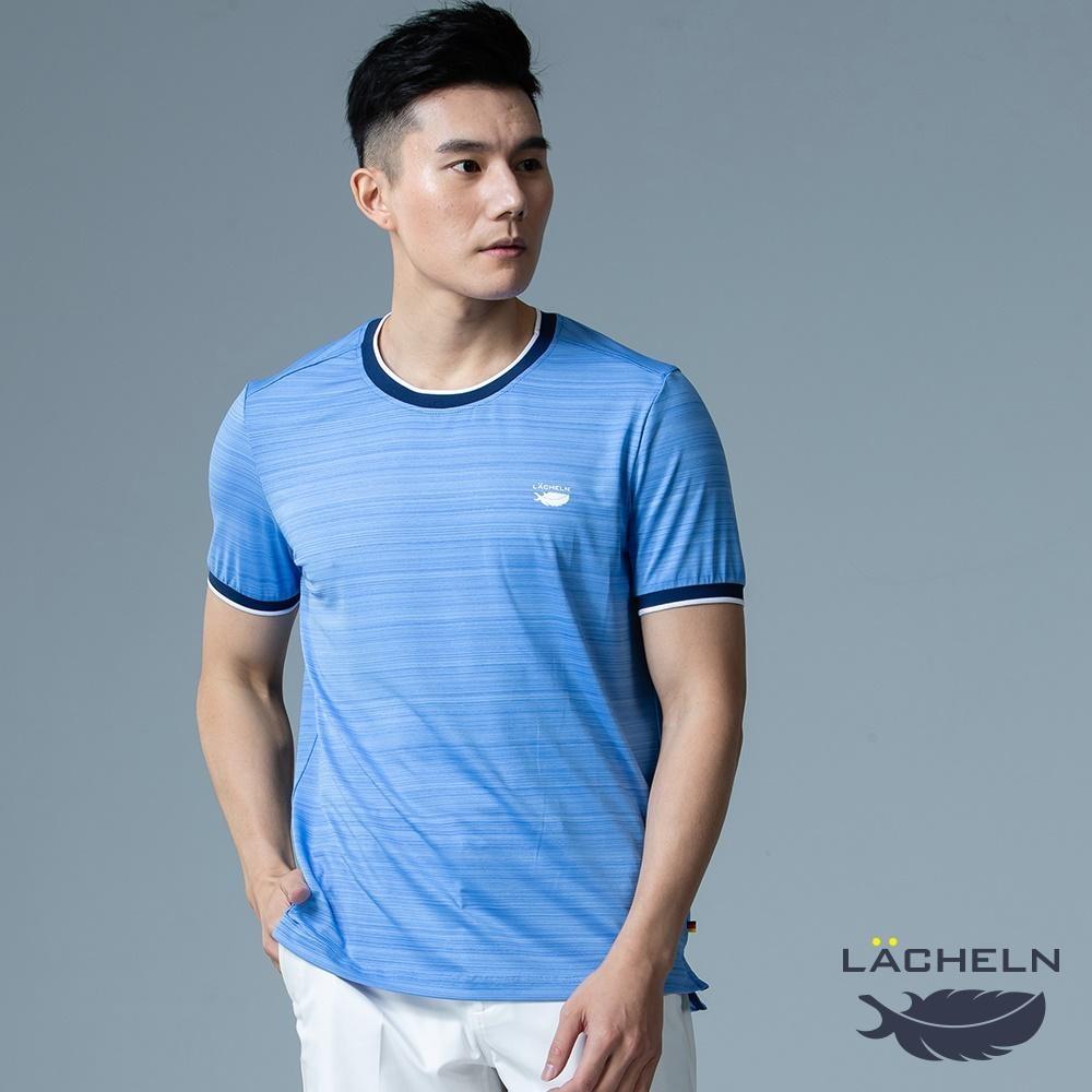 【LACHELN】抗UV吸排乾爽彈性休閒男圓領T恤-L92MA01天空藍