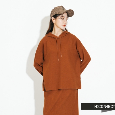 H:CONNECT 韓國品牌 女裝-素面連帽上衣-棕