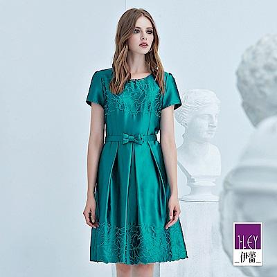 ILEY伊蕾 立體剪裁花朵刺繡緞面洋裝(綠)