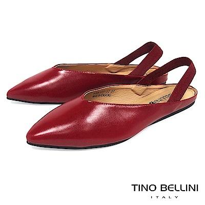 Tino Bellini 深V尖楦彈力後拉帶平底鞋 _ 紅