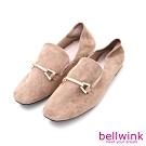 bellwink-絨毛金屬雙扣紳士鞋-駝-b9703lc