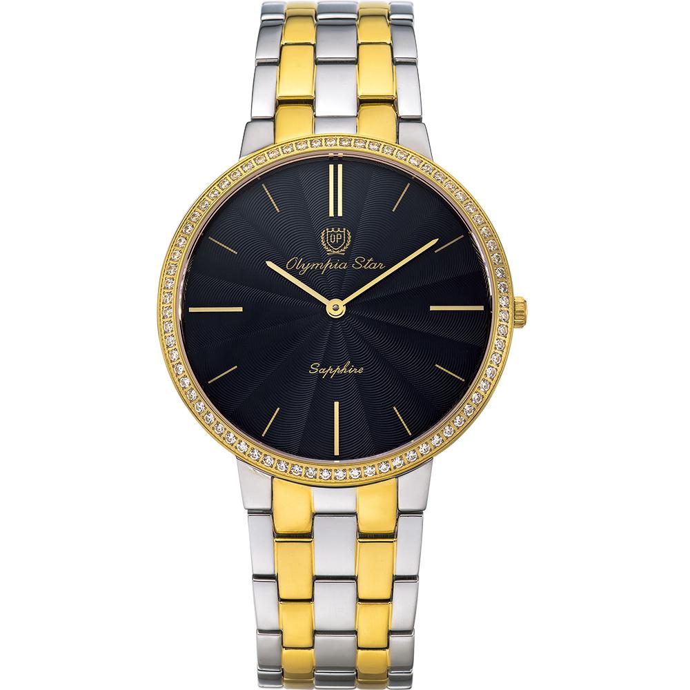 OlympiaStar奧林比亞之星 時尚水波紋晶鑽腕錶-雙色40mm  58060DMSK