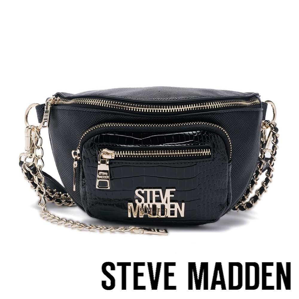 STEVE MADDEN-BMAMBAS 金鍊皮質斜背肩背腰包-黑色
