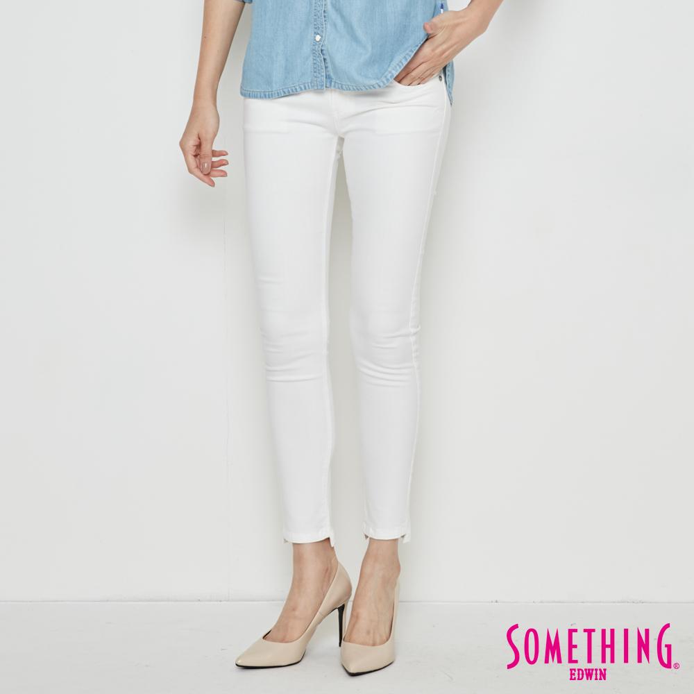SOMETHING NEO立體小剪接窄直筒牛仔褲-女-白色