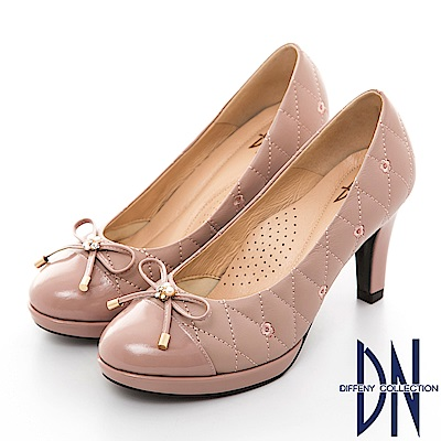 DN 高雅時尚 MIT全真皮菱格拼接漆皮跟鞋-粉藕