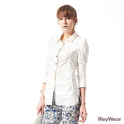 KeyWear奇威名品    OL必備抓皺時尚感長袖襯衫-白色