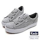 Keds TRIPLE CROSS 彈性鞋帶厚底休閒鞋-淺灰