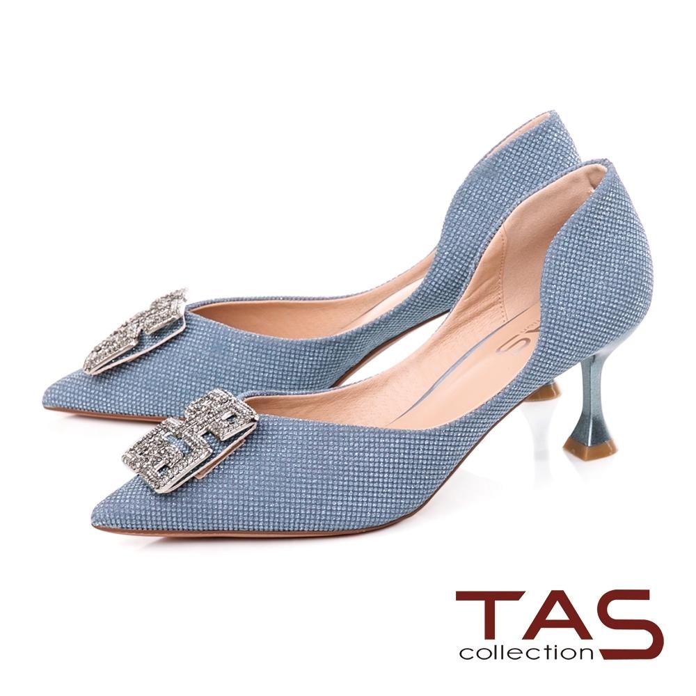TAS造型水鑽飾釦尖頭高跟鞋-璀璨藍