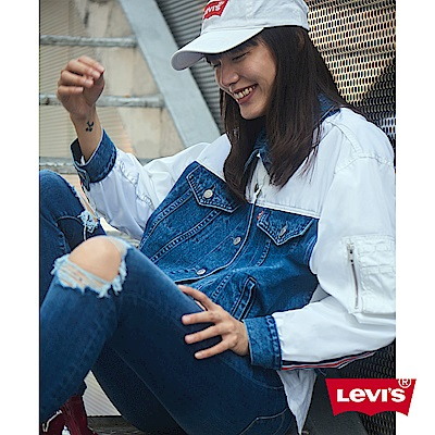 Levis 牛仔外套 女裝 短版寬鬆版型 棒球夾克混搭設計 袖子單口袋