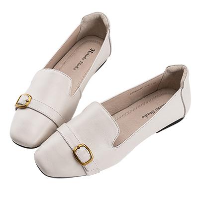 Robinlo 知性小清新百搭柔軟可折平底鞋 米白