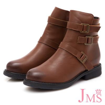 JMS-酷感帥氣造型三側扣厚底短靴-棕色
