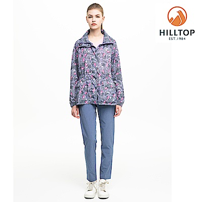 【hilltop山頂鳥】女款輕量.超潑水抗UV外套S02FC3紫印花